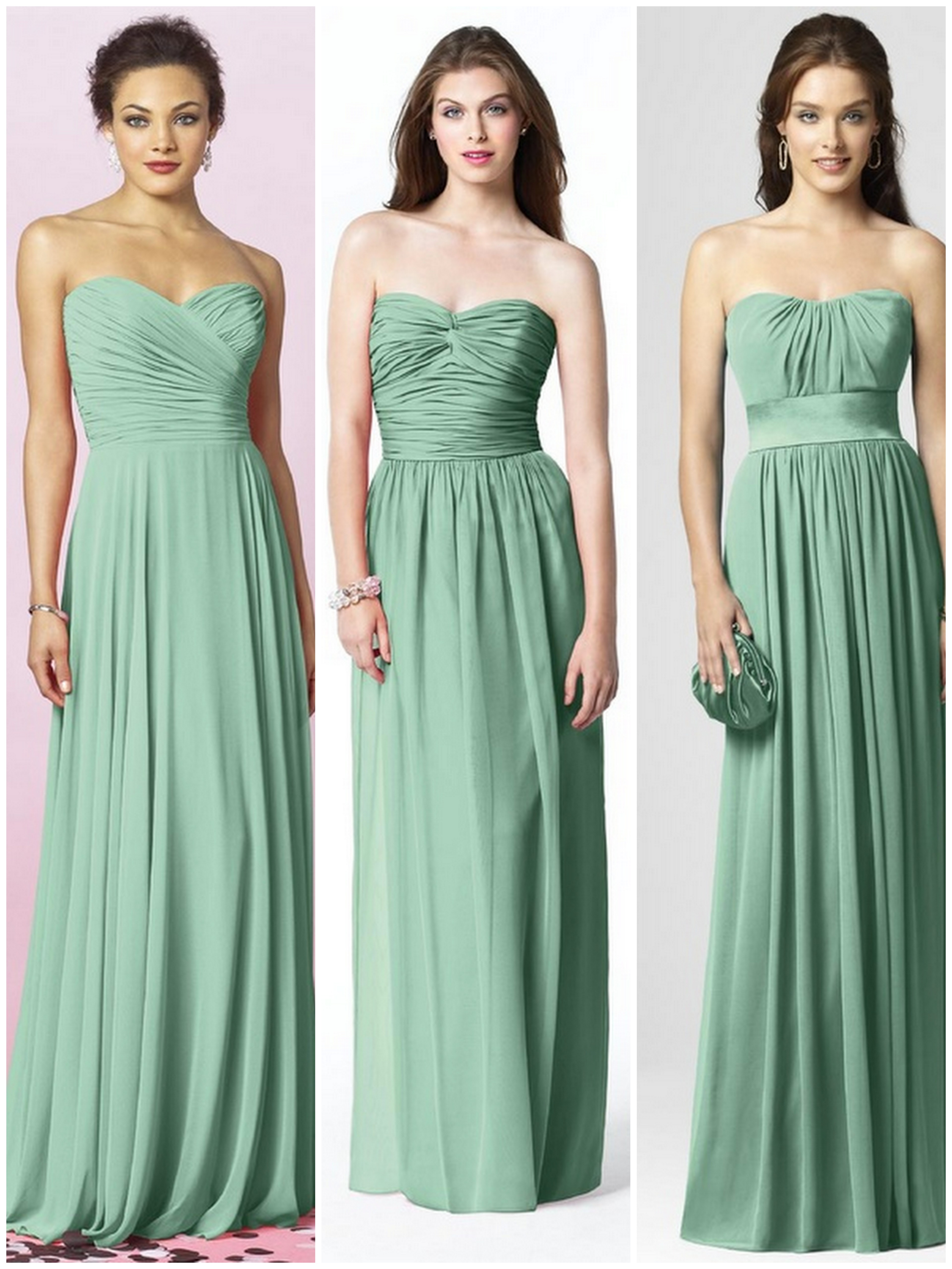 Green blue bridesmaid dresses beauandarrowevents real bride blogger jessica seafoam celedon and mint oh my ombrellifo Choice Image